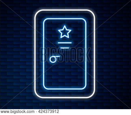 Glowing Neon Line Backstage Icon Isolated On Brick Wall Background. Door With A Star Sign. Dressing