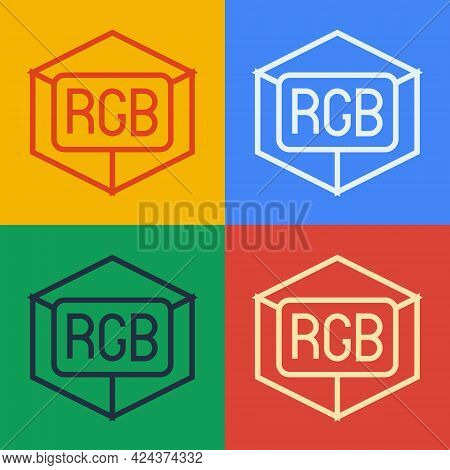 Pop Art Line Rgb And Cmyk Color Mixing Icon Isolated On Color Background. Vector