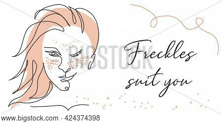 Freckled Girl One Line Art Face Portrait. Red Headed Beautiful Woman Winks. Freckles Suits You Text.