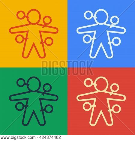 Pop Art Line Voodoo Doll Icon Isolated On Color Background. Vector