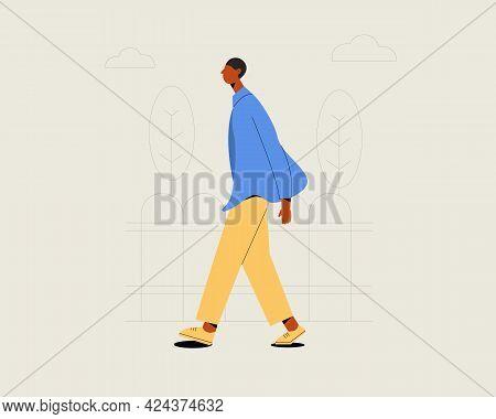 Young  Stylish Black Skin Man Walking On The Street. Vector Illustration Cartoon Flat Style