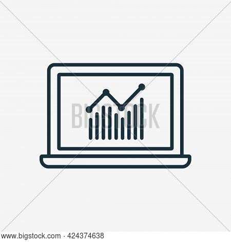 Stocks Market Graph Chart On Laptop Screen Linear Icon. Trading Platform And Trading Exchange Concep