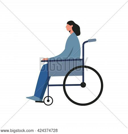 Disabled Female Character Sitting In A Wheelchair Isolated On White Background. Vector Illustration