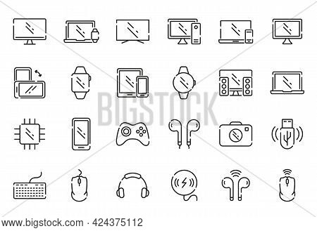 Set Of Device Line Icon. Contain Laptop, Phone, Headphone, Pc, Notebook, Digital Equipment. Wireless