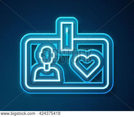 Glowing Neon Line Identification Card Volunteer Icon Isolated On Blue Background. Volunteer Id Card