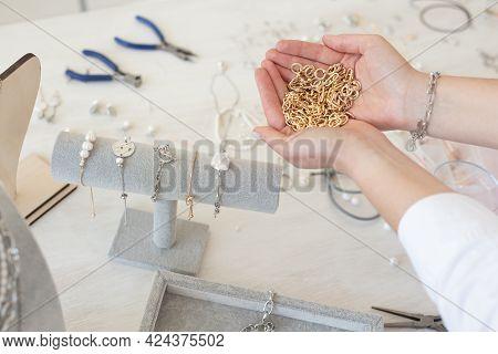 Professional Jewelry Designer Making Handmade Jewelry In Studio Workshop. Fashion, Creativity And Ha