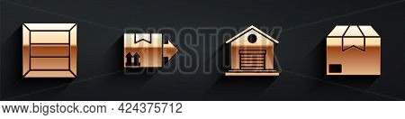 Set Wooden Box, Cardboard Box With Traffic Symbol, Warehouse And Carton Cardboard Box Icon With Long