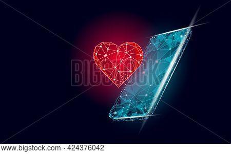 Internet Dating App Concept. 3d Low Poly Smartphone Romantic Relationship Symbol Heart. Social Media