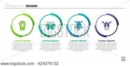 Set Paw Print, Butterfly, Wild Boar Head And Rhinoceros. Business Infographic Template. Vector