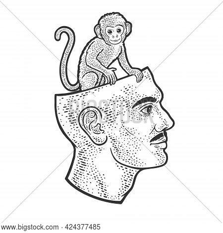 Monkey Sitting In Human Head Line Art Sketch Engraving Vector Illustration. T-shirt Apparel Print De