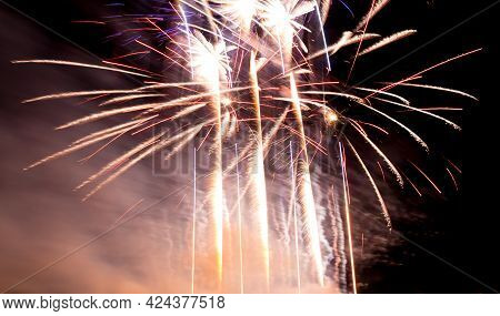 Luxury Fireworks Event Sky Show With Colorful Big Bang Stars. Premium Entertainment Magic Star Firew