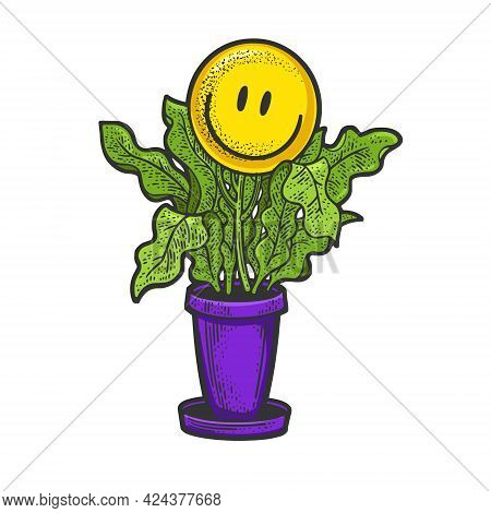 Smile Emoticon Grow On Flower Plant Color Line Art Sketch Engraving Vector Illustration. T-shirt App