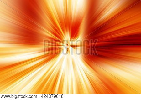 Abstract Surface Blur Of Radial Zoom In Orange, Yellow And White Tones. Spectacular Bright Backgroun