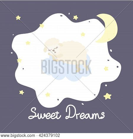Vector Illustration With Cartoon Sheep, Clouds, Stars And Inscription Sweet Dreams On Purple Backgro