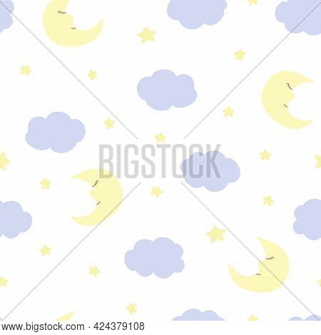 Vector Seamless Pattern With Crescent, Stars, And Clouds On White Backdrop. For Fabric, Textile And
