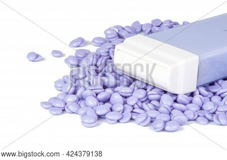 Violet Wax Drops And Lavender For Waxing Depilation Isolated On The White