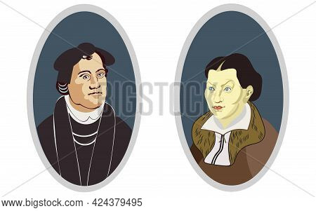 Martin Luther Protestant Christian Reformatory And His Wife Kati Luther (katharina Von Bora). \nbust