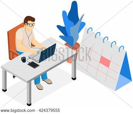 Business Plan, Work Calendar, Businessman Sits At Table, Works With Document. Man Working With Compu