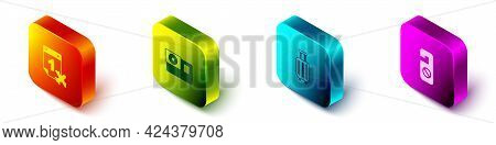 Set Isometric Calendar And Airplane, Action Camera, Suitcase And Please Do Not Disturb Icon. Vector