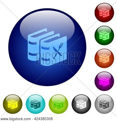 Two Cookbooks With Knife And Fork Icons On Round Glass Buttons In Multiple Colors. Arranged Layer St
