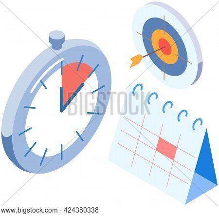Clock, Calendar, Target With Arrow Vector Illustration. Time Management. Deadline, Planning. Plannin