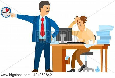 Man Working At Computer And Doing Paperwork To Finish Task. Boss Urges Employee To Complete Assignme