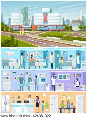 Modern Hospital Building, Healthcare System With All Departments. Doctors And Patients In Hospital B