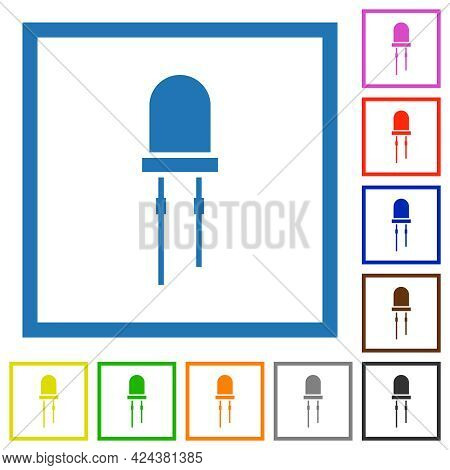 Light Emitting Diode Flat Color Icons In Square Frames On White Background