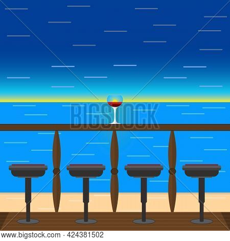 Tropical Seascape With A Wine In A Glass On The Terrace. Romance And Relaxation. Vector Illustration