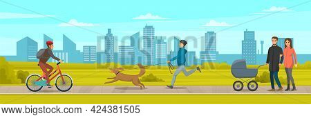 People Walking In City Park By Footpath Along Green Lawn, Active Lifestyle Walks Outdoors. Man In He