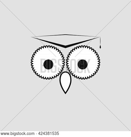 Owl In A Academic Hat. Learning And Education Logo. Vector Template. Abstract Illustration Of Owl Wi