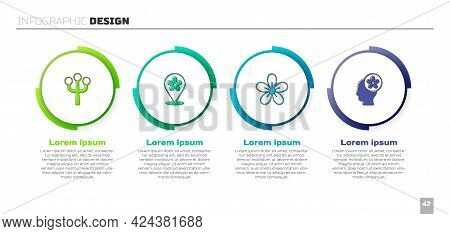 Set Blossom Tree Branch, Location With Flower, Flower And Human Head Inside. Business Infographic Te