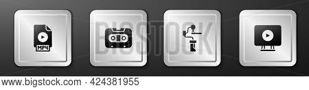 Set Mp4 File Document, Retro Audio Cassette Tape, Gimbal Stabilizer For Camera And Online Play Video
