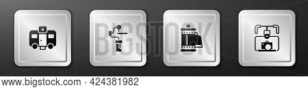 Set Actor Trailer, Gimbal Stabilizer For Camera, Camera Roll Cartridge And With Icon. Silver Square