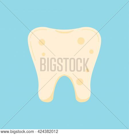 Tooth With Plaque Dental Icon Isolated On Blue Background.
