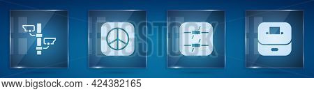Set Security Camera, Peace, Barbed Wire And Vote Box. Square Glass Panels. Vector