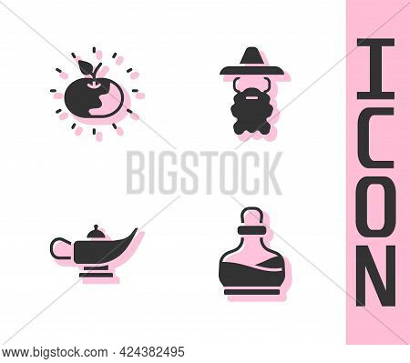 Set Bottle With Potion, Poison Apple, Magic Lamp Or Aladdin And Wizard Warlock Icon. Vector