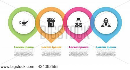 Set Magic Lamp Or Aladdin, Castle Tower, Magician And Wizard Warlock. Business Infographic Template.