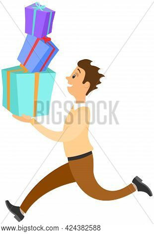 Hurrying Running Male Character Isolated On White Background. Late On Job Or Holiday, Time Managemen
