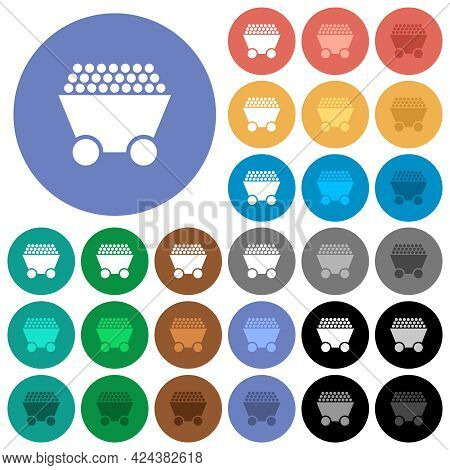 Packed Mine Cart Multi Colored Flat Icons On Round Backgrounds. Included White, Light And Dark Icon