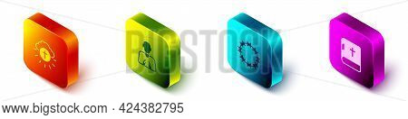 Set Isometric Religious Cross In Circle, Hands Praying Position, Crown Of Thorns And Holy Bible Book