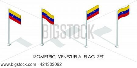 Isometric Flag Of Venezuela In Static Position And In Motion On Flagpole. 3d Vector