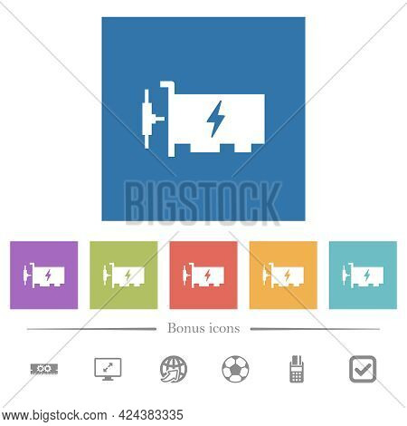 Fast Ethernet Network Controller Flat White Icons In Square Backgrounds. 6 Bonus Icons Included.