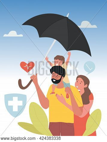 Multiethnic Family Under Umbrella. Life Insurance, Health And Life Protection, Travel And Vacation I