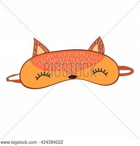 Sleep Mask With Cute Fox Face. Eye Protection Wear Accessory. Relaxation Blindfold. Cartoon Vector I