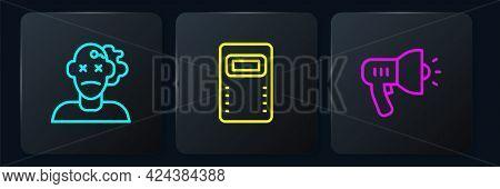 Set Line Murder, Police Megaphone And Assault Shield. Black Square Button. Vector