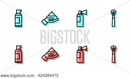 Set Line Perfume, Spray Can For Hairspray, Cream Lotion Cosmetic Tube And Makeup Brush Icon. Vector