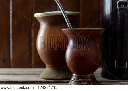 Utensils For Drinking Mate And Mate. Chimarrão, Or Mate, Is A Characteristic Drink Of The Southern C
