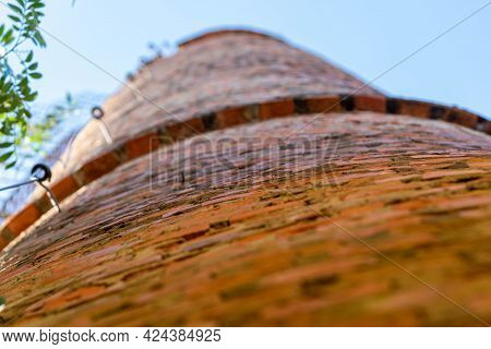 Brick Tower Of Old Abandoned Factory
