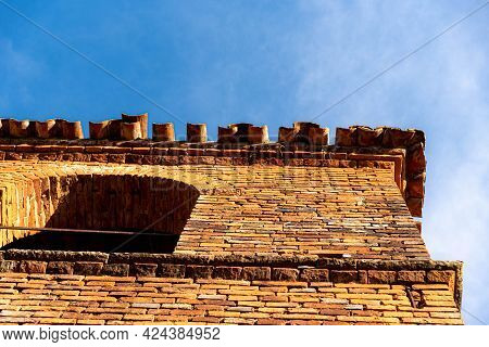 Ancient Church Tower Architecture Built Of Baked Bricks